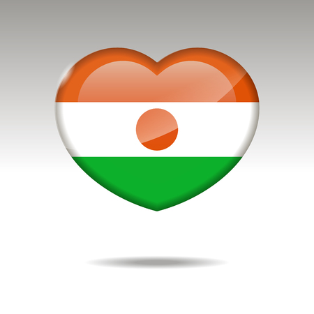 Love NIGER symbol. Heart flag icon. Vector illustration. Imagens
