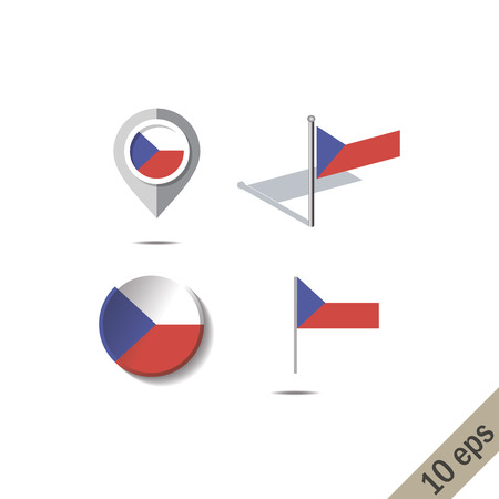 Map pins with flag of CZECH REPUPLIC - vector illustration Ilustrace