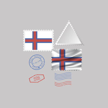 A set of postage stamps with the image of the flag of FAROE ISLANDS isolated on a gray background. 10 eps