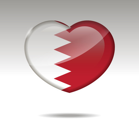 Love BAHRAIN symbol. Heart flag icon. Vector illustration Imagens
