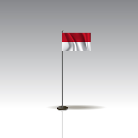 Desktop flag vector image. National INDONESIA flag isolated on gray background. Ilustração