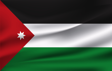 3D Waving Flag of Jordan. Vector illustration. 10 eps