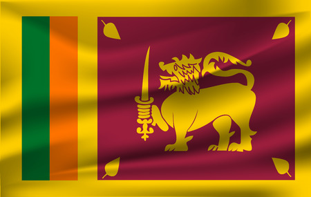 The state flag of Sri Lanka waving in the wind. 10 eps