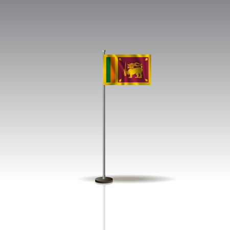 Desktop flag vector image. National SRI LANKA flag isolated on gray background.