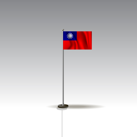 Desktop flag vector image. National Taiwan flag isolated on gray background.