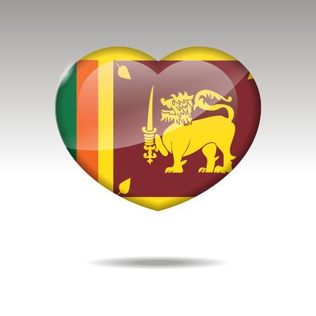 Love SRI LANKA symbol. Heart flag icon. Vector illustration.