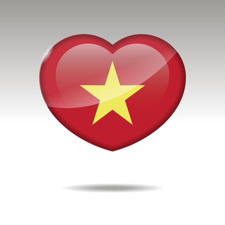 Love VIETNAM symbol. Heart flag icon. Vector illustration