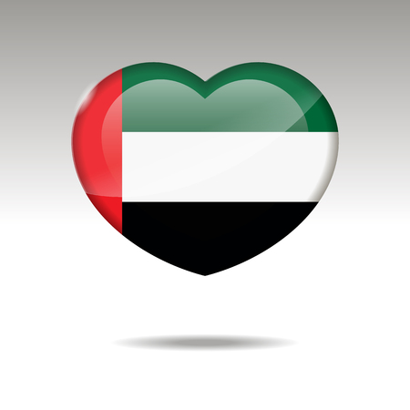 Love UNITED ARAB EMIRATES symbol. Heart flag icon. Vector illustration.
