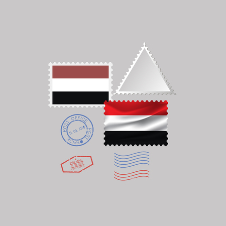 A set of postage stamps with the image of the flag of Yemen isolated on a gray background. 10 eps