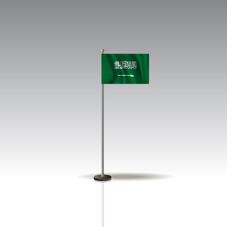 Desktop flag vector image. National SAUDI ARABIAflag isolated on gray background.