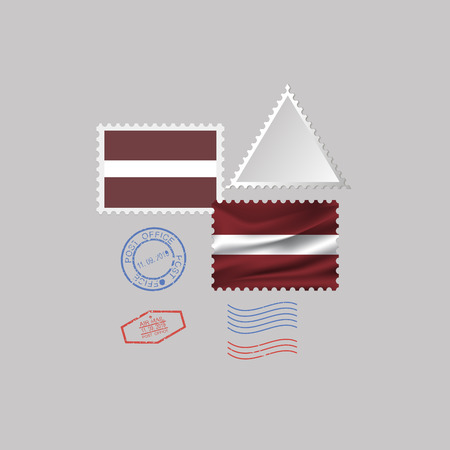 A set of postage stamps with the image of the flag of LATVIA isolated on a gray background. 10 eps