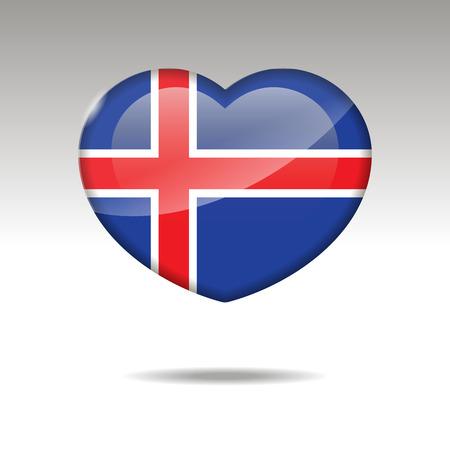 Love ICELAND symbol. Heart flag icon. Vector illustration.Love United Kingdom symbol. Heart flag icon. Vector illustration.