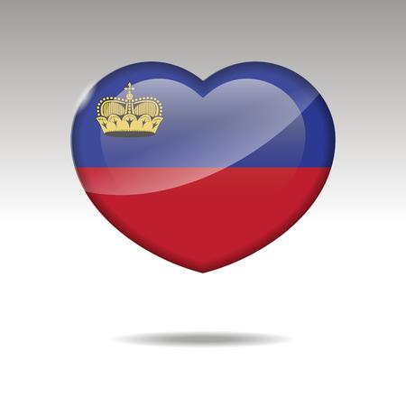 Love LIECHTENSTEIN symbol. Heart flag icon. Vector illustration
