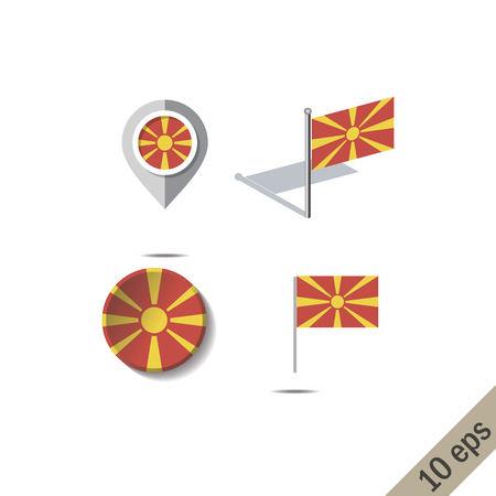 Map pins with flag of MACEDONIA - vector illustration