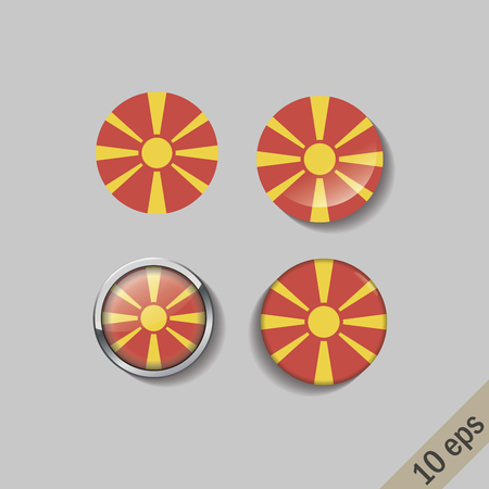 Set of MACEDONIA flags round badges. Vector illustration. 10 eps