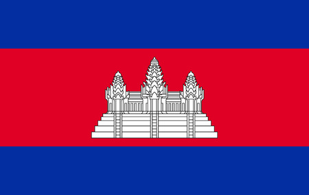 Flag of Cambodia. . Accurate dimensions, element proportions and colors. Stock Photo