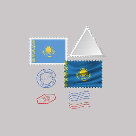A set of postage stamps with the image of the flag of KAZAKHSTAN isolated on a gray background. 10 eps