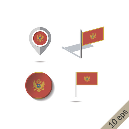 Map pins with flag of MONTENEGRO - vector illustration