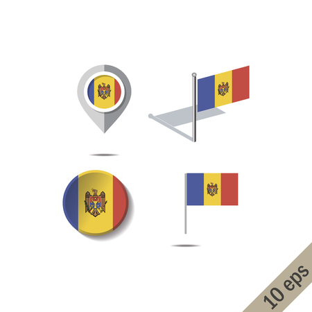 Map pins with flag of MOLDOVA - vector illustration