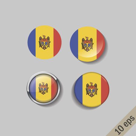 Set of MOLDOVA flags round badges. Vector illustration. 10 eps Illustration