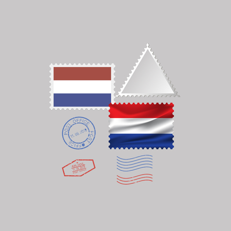 A set of postage stamps with the image of the flag of NETHERLANDS isolated on a gray background. 10 eps