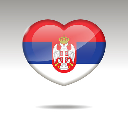 Love SERBIA symbol. Heart flag icon. Vector illustration