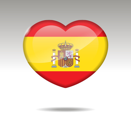 Love SPAIN symbol. Heart flag icon. Vector illustration