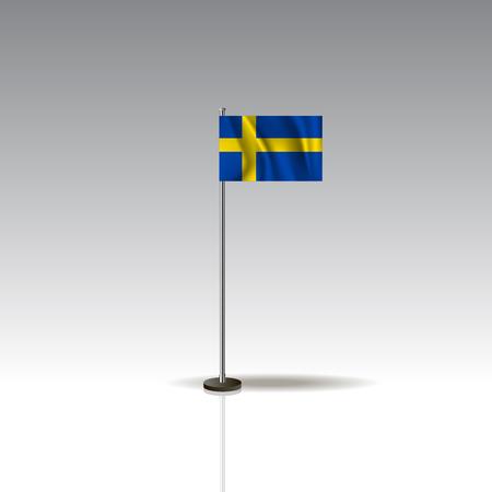 Desktop flag vector image. National SWEDEN flag isolated on gray background. EPS10