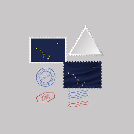 Postage stamp with the image of ALASKA state flag. Vector Illustration.