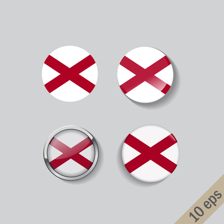 Set of round buttons with the image of ALABAMA state flag on gray background with shadow.
