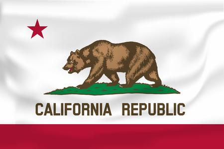Waving Flag of California est un état des États-Unis. Illustration vectorielle