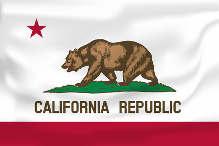 Waving Flag of California is a state of USA. Vector illustration