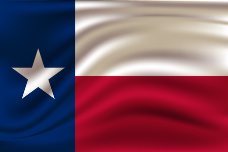 Waving Flag of Texas is a state of USA. Vector Illustration