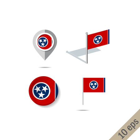 Map pins with flag of Tennesee - illustration