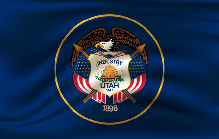 Waving Flag of Utah is a state of USA. Vector illustration. Waving Flag of Utah is a state of USA. Vector illustration  イラスト・ベクター素材