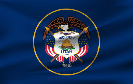 Waving Flag of Utah is a state of USA. Vector illustration. Waving Flag of Utah is a state of USA. Vector illustration 向量圖像