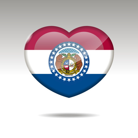 Love Missouri state symbol. Heart flag icon. Vector illustration. Ilustração