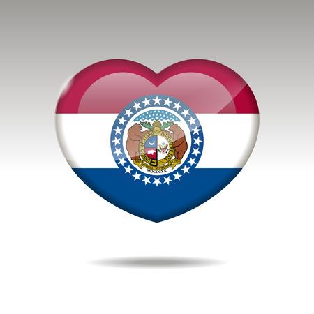 Love Missouri state symbol. Heart flag icon. Vector illustration. Illustration