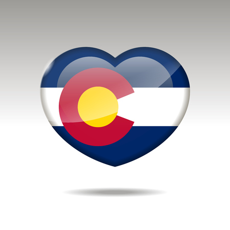 Love COLORADO state symbol. Heart flag icon.