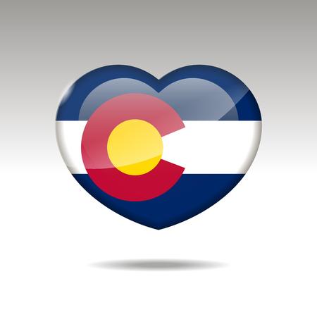 Love COLORADO state symbol. Heart flag icon.