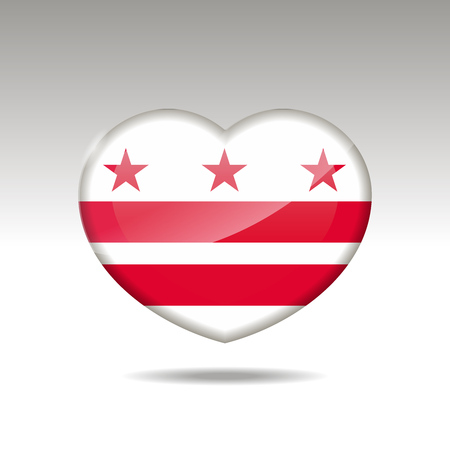 Love District of Columbia state symbol. Heart flag icon. Vector illustration. Illustration