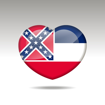 Love Mississipi state symbol. Heart flag icon. Vector illustration.
