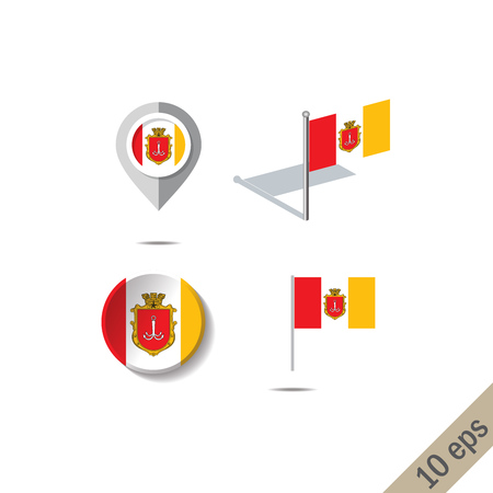 Map pins with flag of ODESSA - vector illustration