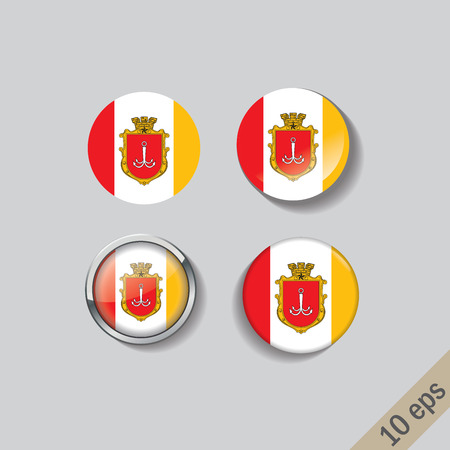 Set of ODESSA flags round badges. Vector illustration. 10 eps