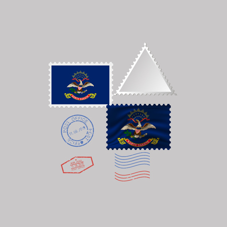 Postage stamp with the image of North Dakota state flag. Hawaii Flag Postage on gray background with shadow. Vector Illustration.