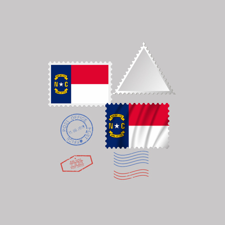 Postage stamp with the image of North Carolina state flag. Hawaii Flag Postage on gray background with shadow. Vector Illustration.