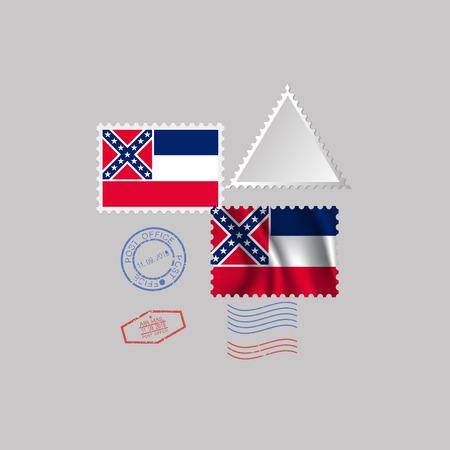 Timbre-poste avec l'image du drapeau de l'État du Mississipi. Affranchissement de drapeau d'Hawaï sur le fond gris avec l'ombre. Illustration vectorielle.