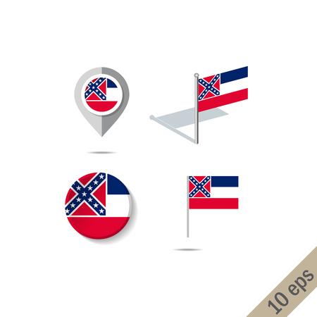 Épingles de la carte avec le drapeau du Mississipi. Icônes de navigation.