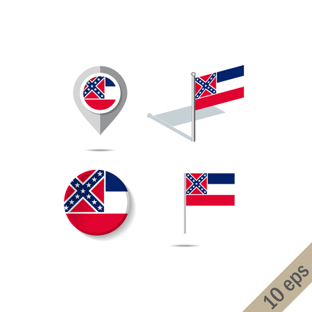 Map pins with flag of Mississipi . Navigation icons.