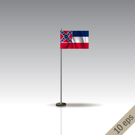 Mississipi vector flag template. Waving Hawaiian flag on a metallic pole, isolated on a gray background. Illustration
